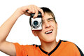 Teenager With Photocamera Royalty Free Stock Photo