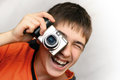 Teenager With Photocamera Royalty Free Stock Photography