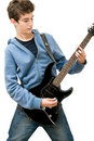 Teenager playing electric guitar Stock Image