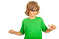 Teenager pointing to his blank t shirt boy green isolated on white background Royalty Free Stock Image
