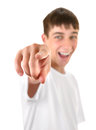 Teenager pointing at you cheerful focus on the fingers Stock Images