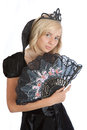 Teenager princess girl in black velvet dress Royalty Free Stock Photo