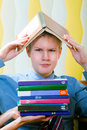 Teenager schoolboy was tired from lessons Royalty Free Stock Photo