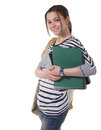 Teenager schoolgirl with textbooks Royalty Free Stock Photography
