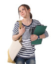 Teenager schoolgirl with textbooks Royalty Free Stock Photo
