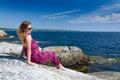 Teenager and sea on a swedish sunny coast Stock Image