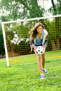 Teenager and soccer Stock Image
