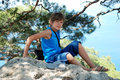 Teenager summer in the crimea a on summer vacations Royalty Free Stock Images