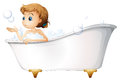 A teenager taking a bath at the bathtub illustration of on white background Stock Image