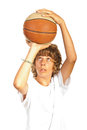 Teenager throwing basketball boy prepare to isolated on white background Stock Image