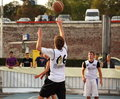 Teenager throwing the basketball sibiu romania september streetball sports event takes place each year in sibiu this year took Stock Images