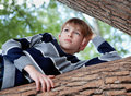 Teenager is in a tree and dreams, summer Royalty Free Stock Photo