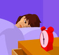 Teenager waking up, vector cartoon illustration
