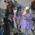 Teenager wearing cosplay costume in the street solo central java indonesia Stock Images