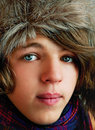 Teenager in winter hat. Stock Photo