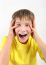Teenager yell on the white background Royalty Free Stock Images