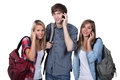 Teenagers with backpacks Royalty Free Stock Image