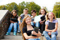 Teenagers with books Royalty Free Stock Photo