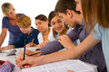 Teenagers in classroom Royalty Free Stock Photo