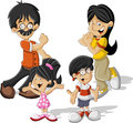 Teenagers colorful cute happy cartoon asian family Stock Photography