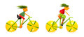 Teenagers cycling fruits and vegetables in the shape of young cyclists riding bikes Stock Images