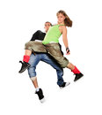 Teenagers dancing breakdance in action break dance over white Stock Photos