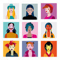 Teenagers girls avatars set varied of young characters and colourful and happy characters female to give a fresh and youthful Royalty Free Stock Photos