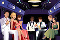 Teenagers going to a prom party in a limousine vector illustration of Stock Photo