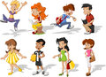 Teenagers group of cartoon young people Royalty Free Stock Images