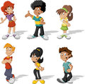 Teenagers group of cartoon young people Royalty Free Stock Photos