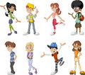 Teenagers group of eight happy cartoon children Royalty Free Stock Photo
