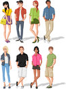 Teenagers group of fashion cartoon young people Royalty Free Stock Images