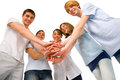 Teenagers with hands together Royalty Free Stock Photography