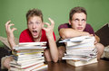 Teenagers having to much to study concept