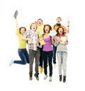 Teenagers jumping together on white Stock Photo