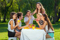 Teenagers laughing a joking together group of attractive happy young and as they sit at picnic table enjoying healthy meal of Royalty Free Stock Image