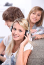 Teenagers listening to CDs Stock Images