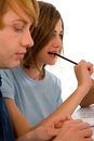 Teenagers studying together Royalty Free Stock Photo
