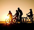 Teens on bicycles Royalty Free Stock Image