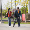 Teens couple walks together Stock Image