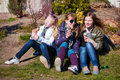 Teens eating an ice cream Royalty Free Stock Photo