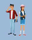 Teens girl and boy students book glasses bag Royalty Free Stock Photo