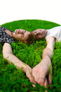 Teens on grass (fisheye) Royalty Free Stock Photo