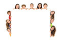 Teens group of teenagers with a white board isolated in white Royalty Free Stock Photos