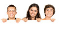 Teens group of teenagers with a white board isolated in white Stock Image