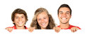 Teens group of teenagers with a white board isolated in white Stock Images