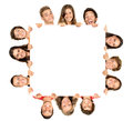 Teens group of teenagers with a white board isolated in white Stock Photo