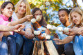 Teens hold marshmallow sticks on bonfire together Royalty Free Stock Photo