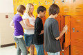 Teens at Lockers Stock Photography