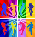 Dancing teens kids silhouettes on retro background silhouette dance party girl boy dancer modern dance contemporary street school Royalty Free Stock Photo